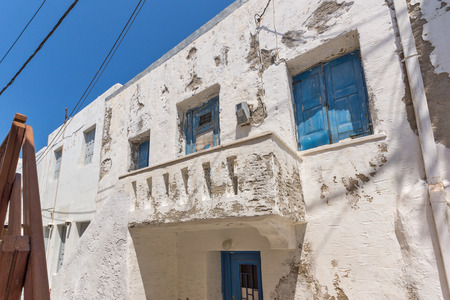 old town house: Old stone house in Naoussa town, Paros island, Cyclades, Greece Stock Photo