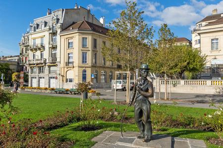 VEVEY, SWITZERLAND - 29 OCTOBER 2015 : Charlie Chaplin monument in town of Vevey, canton of Vaud, Switzerland Editorial