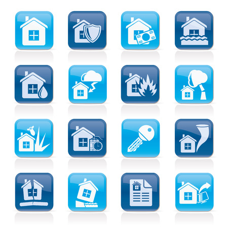 storm damage: Home risk and insurance icons- vector icon set Illustration