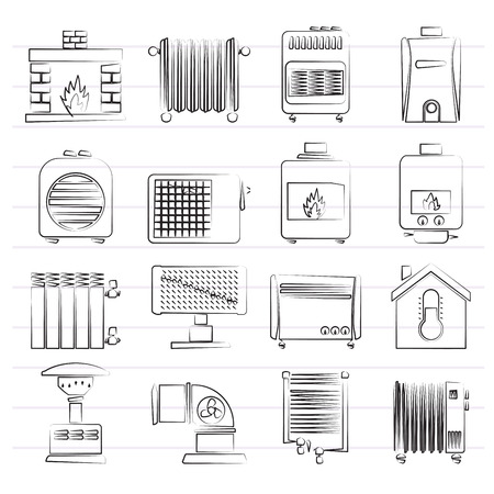 gas fireplace: Home Heating appliances icons - vector icon set