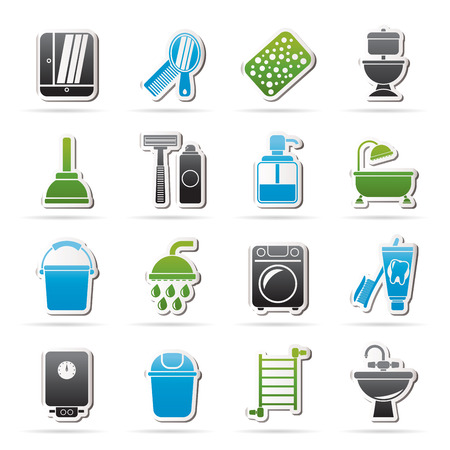 Bathroom and hygiene objects icons - vector icon set