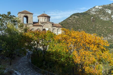 assen: Autumn landscape of Church of the Holy Mother of God in Asens Fortress, Asenovgrad, Plovdiv Region, Bulgaria Editorial