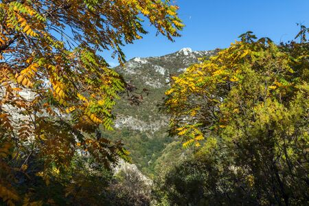 assen: Autumn view of Anathema hill in Rhodopes Mountain from Asens Fortress, Asenovgrad, Plovdiv Region, Bulgaria Editorial