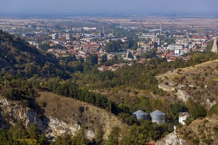 Panorama of town of Asenovgrad from Asens Fortress,  Plovdiv Region, Bulgaria