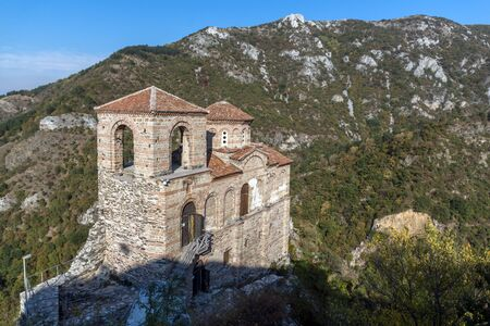 assen: Panorama of Church of the Holy Mother of God in Asens Fortress and Rhodopes mountain, Asenovgrad, Plovdiv Region, Bulgaria