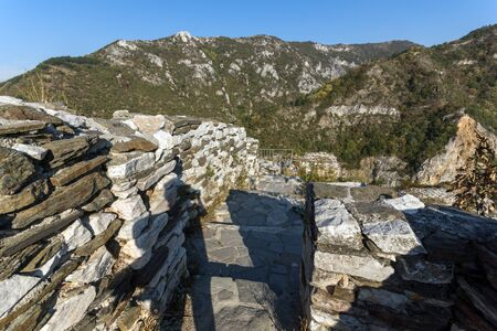 assen: Landscape to  Rhodopes mountain and ruins from Asens Fortress,  Plovdiv Region, Bulgaria