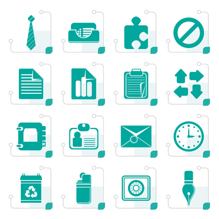 address: Stylized Simple Business and Office Icons - Vector Icon Set Illustration
