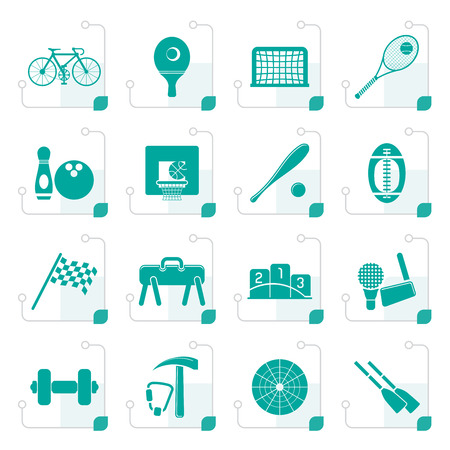 sports gear: Stylized  Simple Sports gear and tools icons - vector icon set Illustration