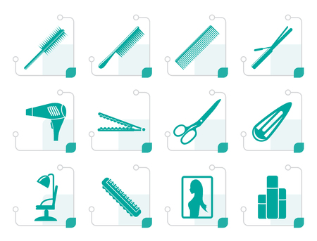 Stylized hairdressing, coiffure and make-up icons - vector Icon Set