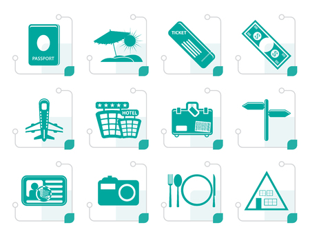 plate camera: Stylized Simple Travel and trip Icons- Vector Icon Set