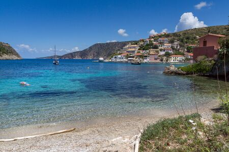 Panorama and beach of Assos village and beautiful sea bay, Kefalonia, Ionian islands, Greece