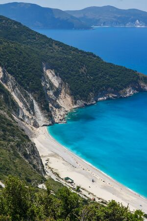 Panoramic View of beautiful Myrtos beach, Kefalonia, Ionian islands, Greece
