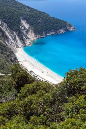 ionian: Amazing seascape with Blue water of beautiful Myrtos beach, Kefalonia, Ionian islands, Greece