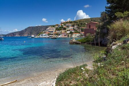 cefallonia: Amazing panorama of village and beautiful sea bay, Kefalonia, Ionian islands, Greece