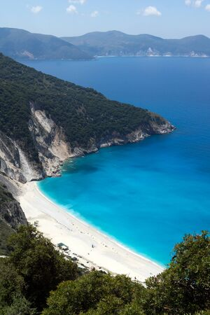 Panoramic View of beautiful Myrtos bay road to beach, Kefalonia, Ionian islands, Greece