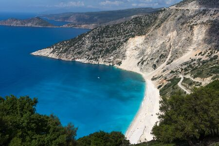 cefalonia: Amazing Panorama of beautiful Myrtos beach, Kefalonia, Ionian islands, Greece Stock Photo