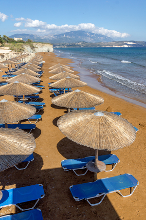 cefallonia: amazing pamorama of Xi Beach,beach with red sand in Kefalonia, Ionian islands, Greece