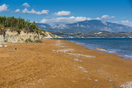 cefallonia: Panoramic view of Xi Beach,beach with red sand in Kefalonia, Ionian islands, Greece