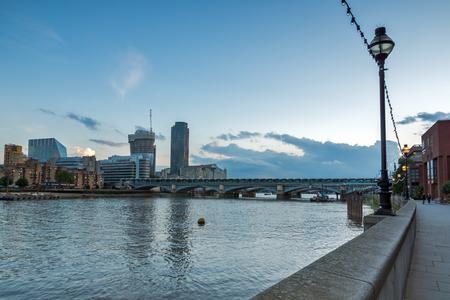LONDON, ENGLAND - JUNE 17 2016: Twilight on Blackfriars Bridge and Thames River, London, United Kingdom