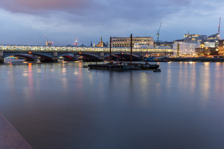 LONDON, ENGLAND - JUNE 17 2016: Night Photo of Thames River and Blackfriars Bridge, London, Great Britain