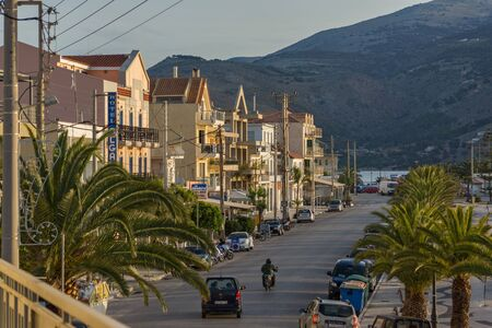 cefallonia: ARGOSTOLI, KEFALONIA, GREECE - MAY 26  2015:  Amazing Sunrise view of Embankment of town of Argostoli, Kefalonia, Ionian islands, Greece