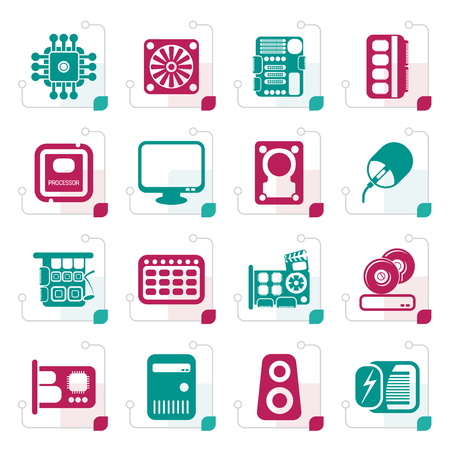 characteristic: Stylized Computer  Performance and Equipment Icons - Vector Icon Set