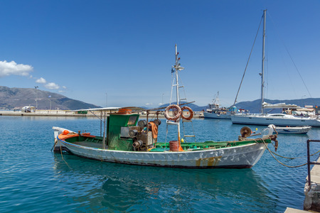 cefalonia: SAMI, KEFALONIA, GREECE - MAY 26 2015:   Panorama of Port of town of Sami, Kefalonia, Ionian islands, Greece Editorial