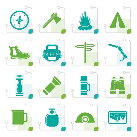 Icônes de tourisme et vacances stylisées - Vector Icon Set