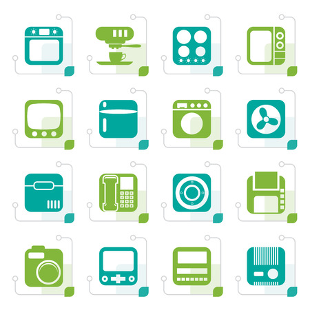 home equipment: Stylized Home and Office, Equipment Icons - Vector Icon Set