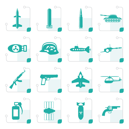 atomic bomb: Stylized Simple weapon, arms and war icons - Vector icon set Illustration