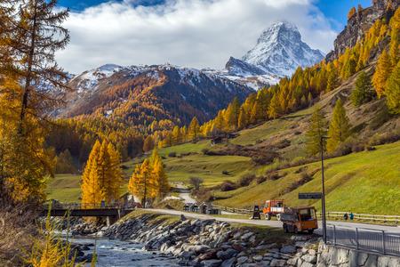 valais: Amazing Autumn view of Mount Matterhorn, Canton of Valais, Switzerland