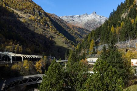 Amazing panorama of Alps and Lotschberg Tunnel under the mountain, Switzerland