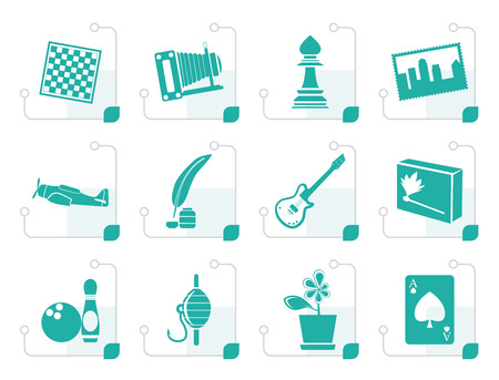 backgammon: Stylized Hobby, Leisure and Holiday Icons Illustration