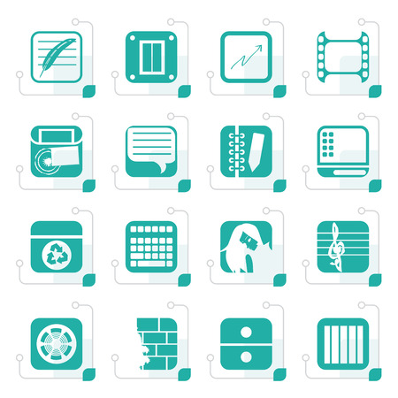 business phone: Stylized Business, Office and Mobile phone icons
