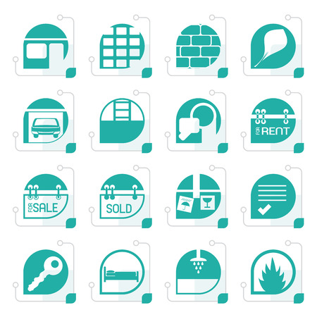 car for sale: Stylized Simple Real Estate icons Illustration