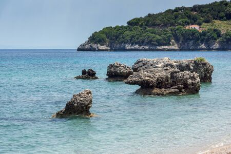 ionian: Small beach with blue waters in Kefalonia, Ionian Islands, Greece