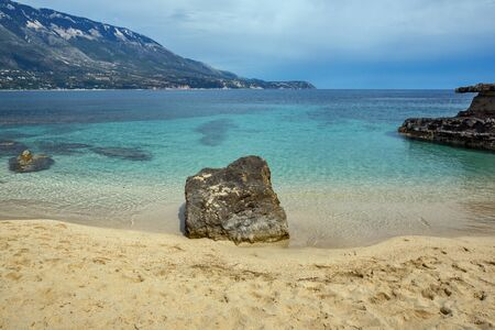 cefallonia: Amazing panorama of Pesada beach, Kefalonia, Ionian islands, Greece Stock Photo
