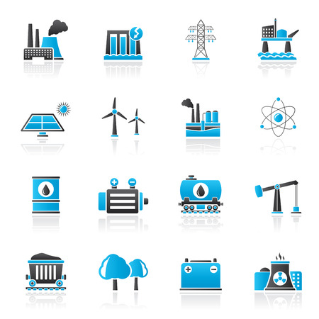 mine site: Energy produsing industry and resources icons - vector icon set