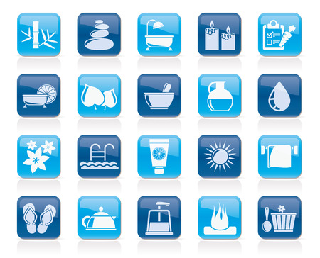 body care: Spa, Beauty and body care icons - vector icon set