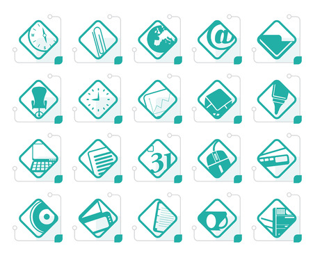Stylized Business and Office tools icons vector icon set 2