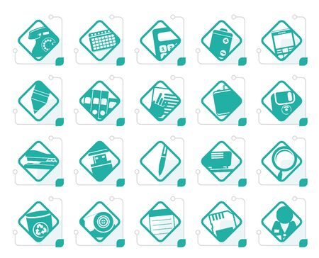 nternet: Stylized Office tools icons -  vector icon set 3