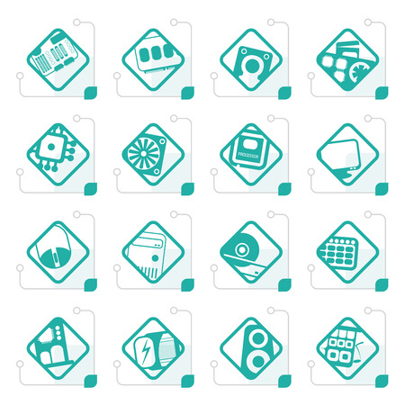 Stylized Computer  performance and equipment icons - vector icon set