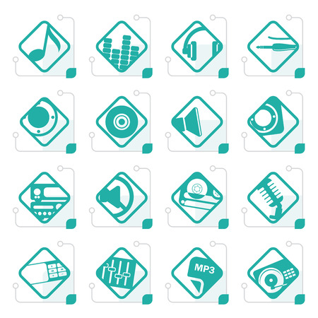 nternet: Stylized Music and sound icons -  Vector Icon Set