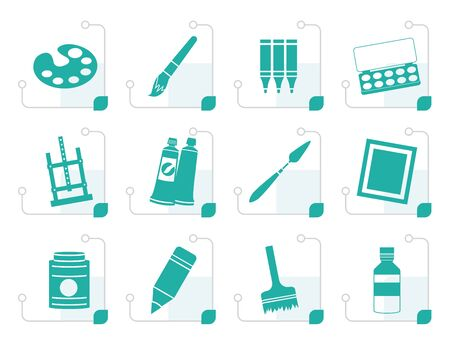 painting and stylized: Stylized painter, drawing and painting icons -  vector icon set Illustration