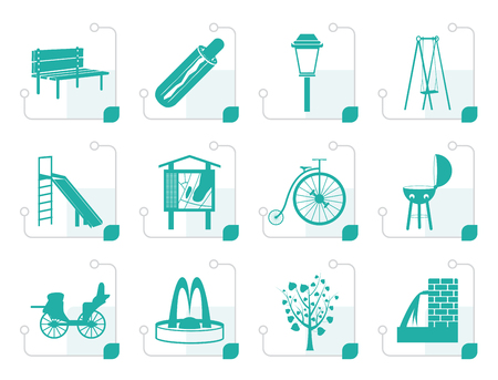 junket: Stylized Park objects and signs icon - vector icon set