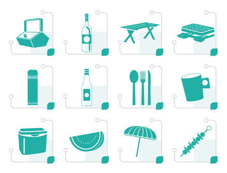 coldly: Stylized Picnic and holiday icons - vector icon set Illustration
