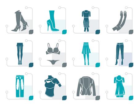 Stilisierte Frau und weibliche Kleidung-Symbole - Vektor-Icon-Set
