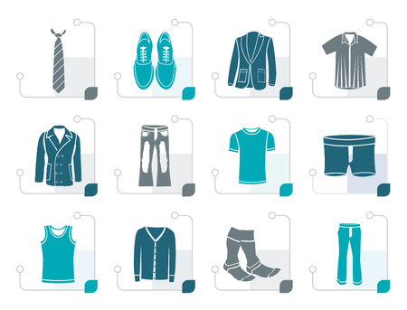 greatcoat: Stylized man fashion and clothes icons - vector icon set