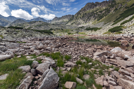 Landscape with Stones in the water of Musalenski lakes,  Rila mountain, Bulgaria