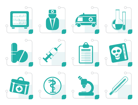 taking pulse: Stylized Medical and healthcare Icons Vector Icon Set